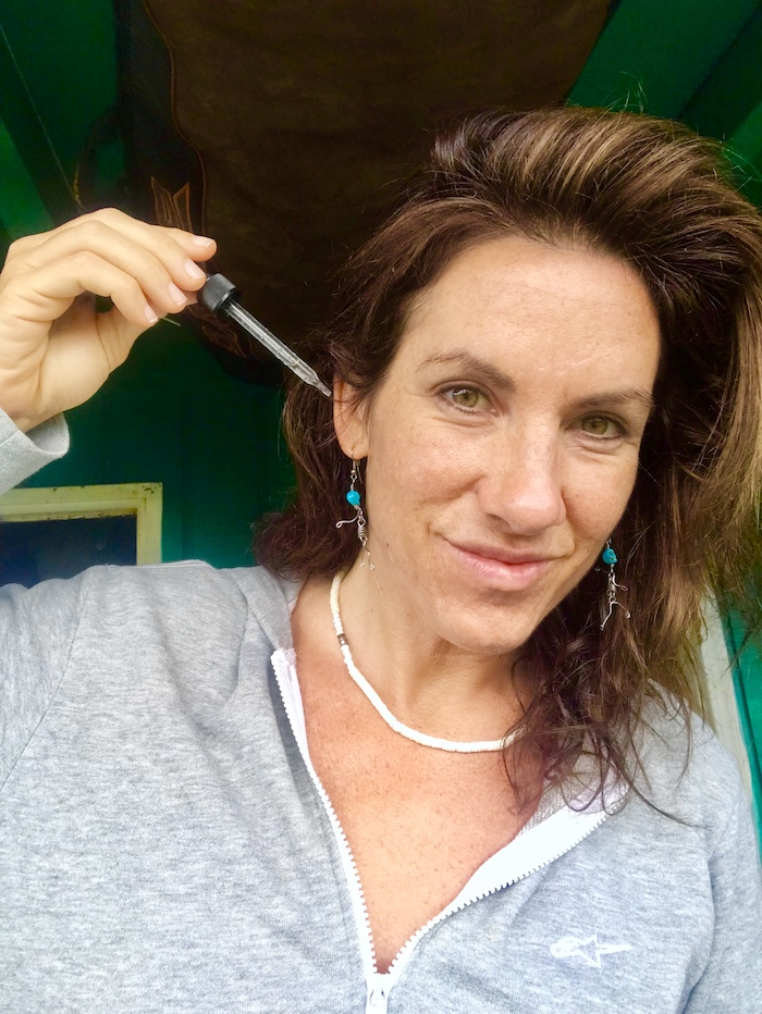 Melanie Williams using Big Wave Ear Drops for Ear Pain and Surfers Ear