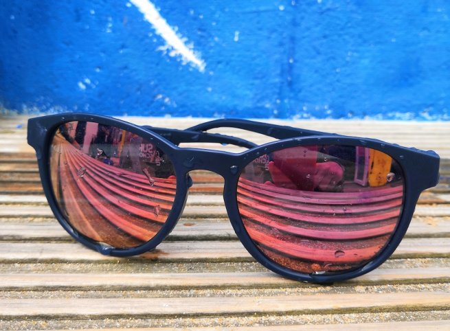 closeup of sunglasses for the sungod sierras review in north cornwall